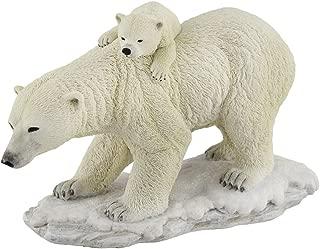 Veronese Design Polar Bear Mother with Adorable Freeloading Cub Statue