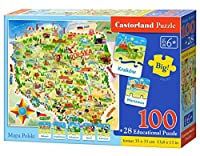Castor Pays E Carte 142–Puzzle Pays de la Pologne, 100Plus 28pièces