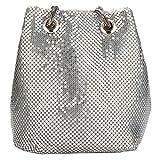 Tragetasche für Frauen Glänzende Pailletten Hobo Taschen Zinklegierung Glitzer Eimer Tasche Schultertasche Handtasche Gr. One size, silber