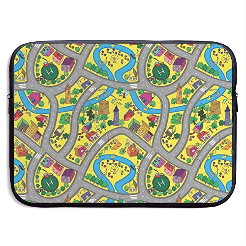 Abstract Roadway Activity Illustration Laptop Sleeve Bag Case,Laptop Briefcase Soft Carring Tablet Travel Case,13 inch