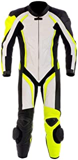 Motorcycle New Yellow/White One piece Leather Track Racing Suit CE Approved Protection (MED)
