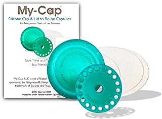 My-Cap's Silicone Cap and Lid to Reuse Capsules for Nespresso VertuoLine Brewers (Kiwi Color)