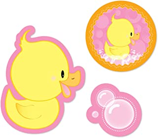 Big Dot of Happiness Pink Ducky Duck - DIY Shaped Girl Baby Shower or Birthday Party Cut-Outs - 24 Count