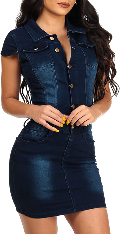chouyatou Women's Cap Sleeve Bodycon 1/2 Button Placket Mini Denim Pencil Dress