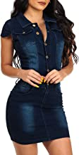 chouyatou Women's Cap Sleeve Bodycon 1/2 Button Placket Mini Denim Pencil Dress