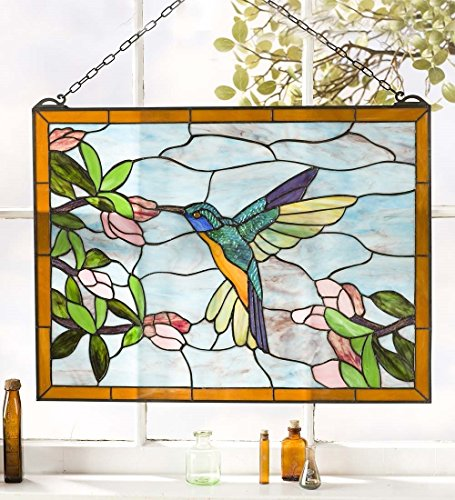 Wind & Weather Hummingbird Stained Glass Window Panel, Vivid Colors, Opalescent Glass, Indoor and Outdoor Use