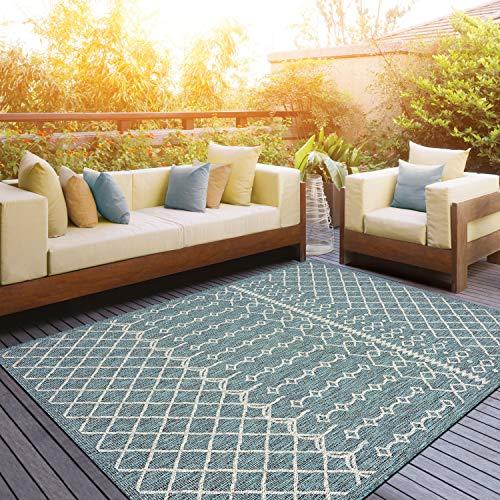 LR Home Sun Shower Indoor/Outdoor Area Rug, 8' x 10', Blue/Gray