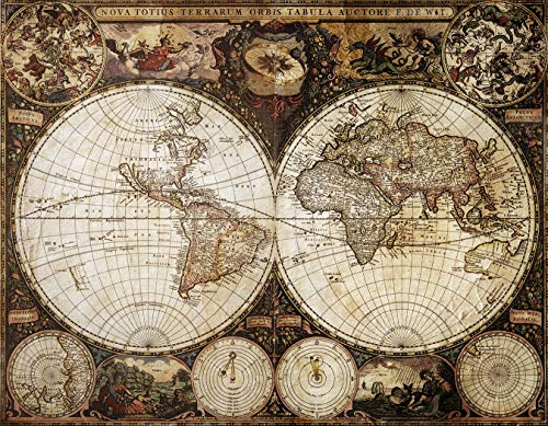 Fototapete selbstklebend | Weltkarte Antik | in 265x200 cm | Bild-tapete Moderne Wand-deko Dekoration Wohnung Wohnzimmer Wandtapete | 17202v2