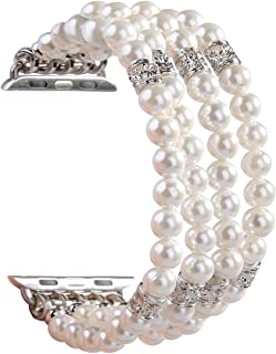 GEMEK for Apple Watch Band 38mm 42mm Women iWatch Bands Series 4 3 2 1, Handmade Beaded Elastic Stretch Pearl Bracelet Replacement Strap for Girls Wristband