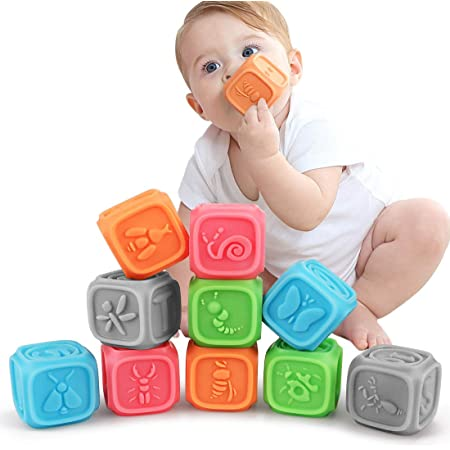 Giochi Neonato 6 Mesi Impilabile cubi bambini , Blocchi per primi neonato Dentizione Giocattoli da Masticare Giocattoli Educativi da Bagno per Bambini Gioca con Numeri, Animali per 6-36 Mesi(10 PCS)