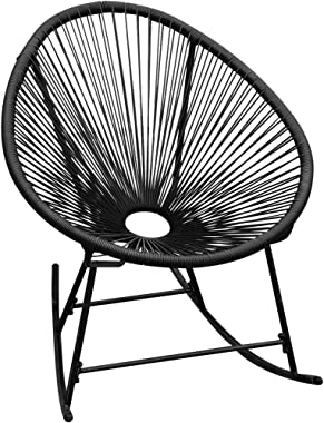 YTDTKJ Outdoor Rocking Chair Black Poly Rattan