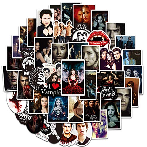 The Vampire Diaries merch Sticker-50pcs Vinyl Waterproof Stickers for Laptop Hydroflasks Water Bottles Guitar Motorcycle Bumper Luggage Skateboard Car Decals for Adults(Vampire Diaries)