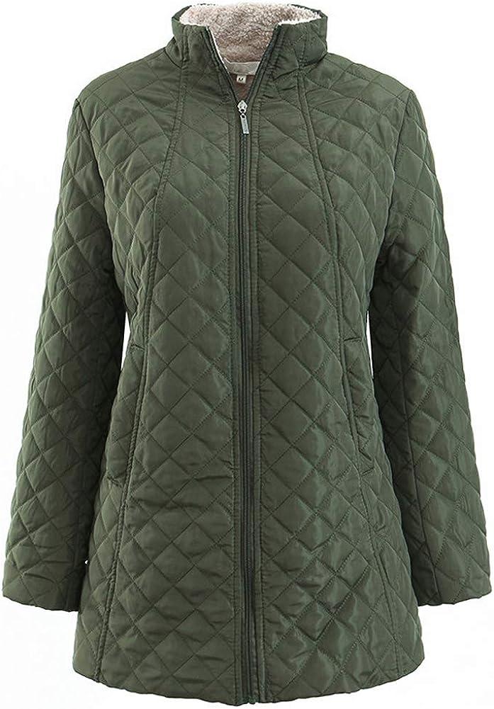Flenwgo Women's Winter Sherpa Lined Windproof Coat Hight Neck Soild Jacket Lightweight Outwear S-3XL