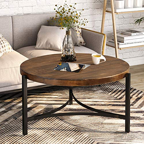 P PURLOVE Round Coffee Table Rustic Style Table with Wood Desktop Metal Frame for Living Room (Brown and Black)