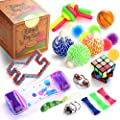 Sensory Fidget Toys Set, 25 Pcs., Stress Relief and Anti-Anxiety Tools Bundle for Kids and Adults, Marble and Mesh, Pack of Squeeze Balls, Soybean Squeeze, Flippy Chain, Liquid Motion Timer & More by Yiwu City Tuoyi Toys CO., Ltd.