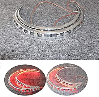 PACASK Motorcycle New Brake Rotor Covers LED Light Ring Of Fire For Honda Goldwing GL1800 2001-2014 (Red)