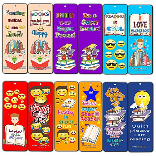 Creanoso Smiley Face Bookmarks Cards for Kids (30-Pack) - Emoji Emoticon Bookmarker – Classroom Incentives – Teacher Supplies - Books Reading Rewards Incentives for Kids Boys Girls – Party Gifts