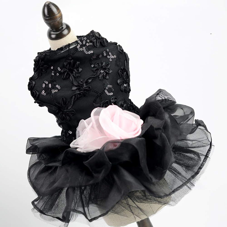 Pet Wedding Dress, Dog Dress Tutu Skirt Flower Dog Pet Cat Luxury Princess Wedding Dress,Black,S