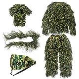 GUGULUZA Traje de camuflaje 3D Ghillie Jungle Woodland para adultos