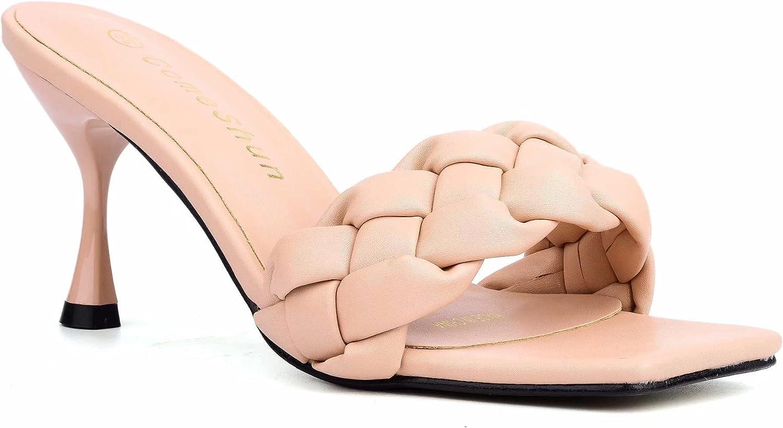 ComeShun Women Low Kitten Heel Mules Open Peep Toe Dress Pumps Slip On Braid Sandals