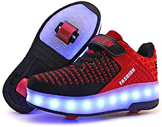 Ufatansy USB Charging Shoes Roller Shoes Girls Roller Skate Shoes Boys Kids LED Light up Wheel Shoes Roller Sneakers Shoes Wheels for Kids Best Gifts