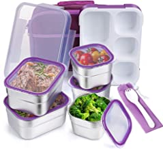 Stainless Steel Kids Bento Lunch Box Leak Proof BPA-Free DaCool School Lunch Container 5-Compartment with Lunch Bag and Fo...