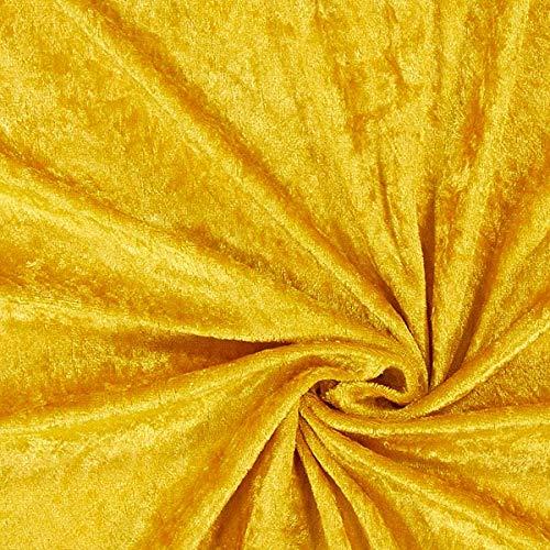 Fabulous Fabrics Pannesamt gold, Uni, 140cm breit – Pannesamt zum Nähen von Kissen, Tischdecken und Dekorationen – Meterware erhältlich ab 0,5 m