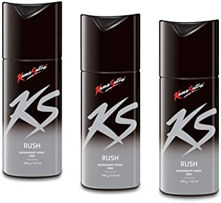 Kama Sutra Deodorant Body Spray for Men, 150 ml (Rush) - Pack of 3