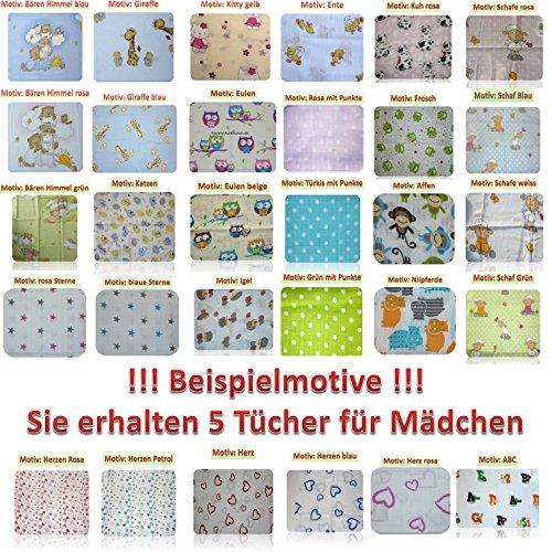 Baby Mullwindeln Spucktücher 70 x 80 cm von Family-Kollektion I 5 x Baumwolle Mulltücher I Baumwollwindeln Stoffwindeln Set (Mädchenmotive)