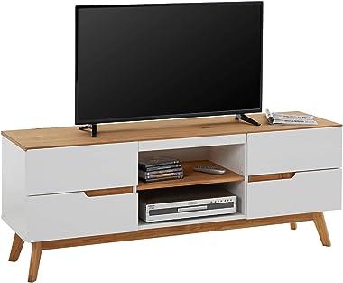IDIMEX Meuble TV Tibor Banc télé de 149 cm au Style scandinave Design Vintage Nordique avec 4 tiroirs et 2 niches, en pin Mas