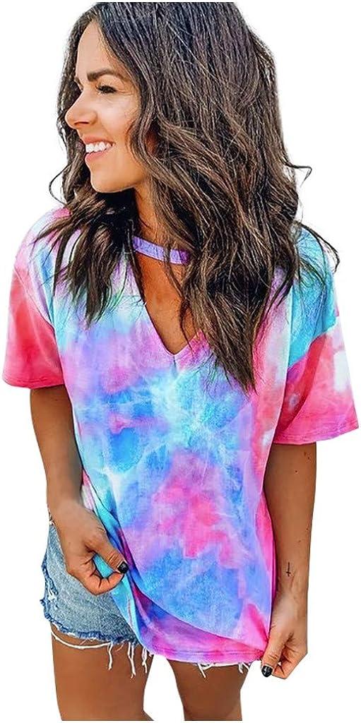 FEISI22 Ladies Colorful Tie-Dye Tees Womens Loose Short Sleeve Tie Dye Blouses Tops Choker V//O Neck T-Shirt Tee Tshirt