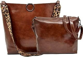 Women 2Pcs Leopard Print Shoulder Bag Set Satchel Totes Handbag Purse