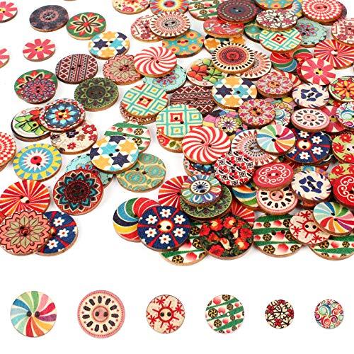 400 Pcs Holz Vintage Knöpfe Malerei Runde Knöpfe gemischter Bunte Knöpfe zum Basteln mit 2 Löcher zum Nähen, Malerei,DIY-Dekoration (3 Größen)
