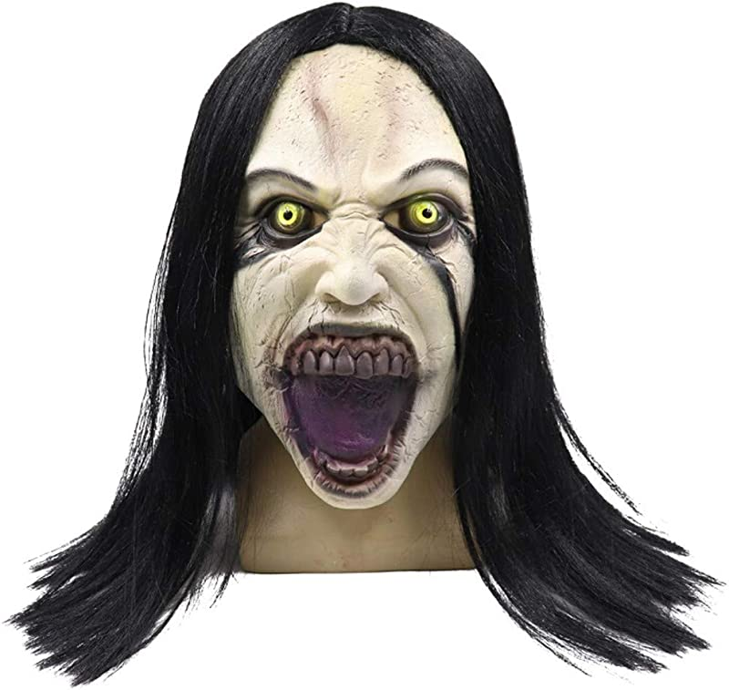 Panzisun Wig Female Ghost Skull Mask Melting Face Adult Latex Costume Halloween Scary Christmas Party Indoor Outdoor For Adults Kids Boys Girls Woman Man
