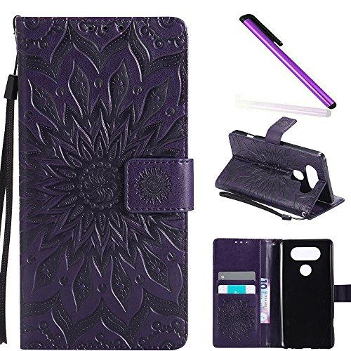 COTDINFOR LG V20 Hülle Elegant PU Tasche Leder Flip Schutzhülle Bookstyle Kartenfächer Magnet Standing Etui Schale für LG V20 Purple Sunflower KT