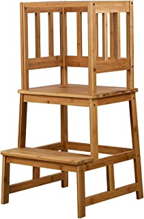 SUNYAO Kids Kitchen Step Stool with Safety Rail Solid Bamboo Construction. Perfect for Toddlers Up 18 Months , Natural Color