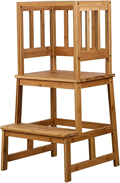 SUNYAO Kids Kitchen Step Stool With Safety Rail Solid Bamboo Construction Perfect For Toddlers Up 18 Months Natural Color