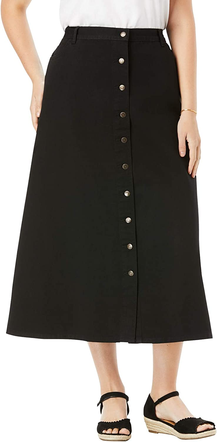 Woman Within Women's Plus Size Denim Front Skirt Long Max 75% Max 80% OFF OFF Button