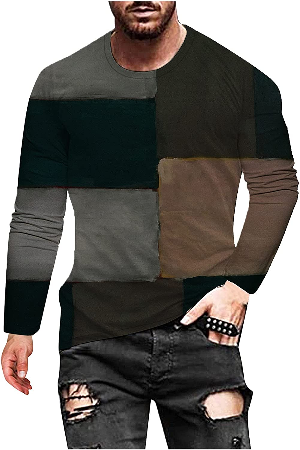 HONGJ Soldier Long Sleeve T-shirts for Mens, Fall Street Abstract Art Vintage Print Workout Athletics Crewneck Tee Tops