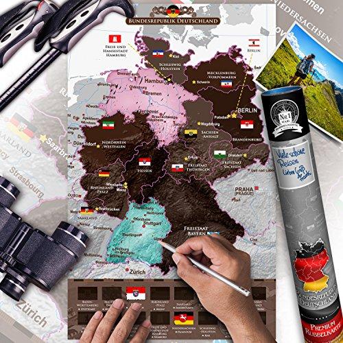 murando - Rubbel Deutschlandkarte - Weltneuheit: Weltkarte zum Rubbeln - Laminiert (beschreib- & abwischbar) Rubbelkarte Deutschland 31x50 cm k-A-0369-o-a