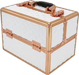 YOURLITEAMZ Makeup Train Cases Professional Cosmetic Box Travel Organizer (White)