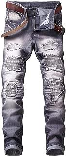 WXKDH Men Casual Jeans Coated Slim Straight Pleated Biker Jeans Pants Male Denim Casual Pants