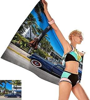 Bath Towel Set Classic American Car on South Beach, Miami,W28 xL55 for Baby Girl