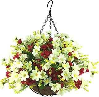 Lopkey Artificial Daisy Flowers Outdoor Indoor Patio Lawn Garden Hanging Basket with Chain Flowerpot,White-Red