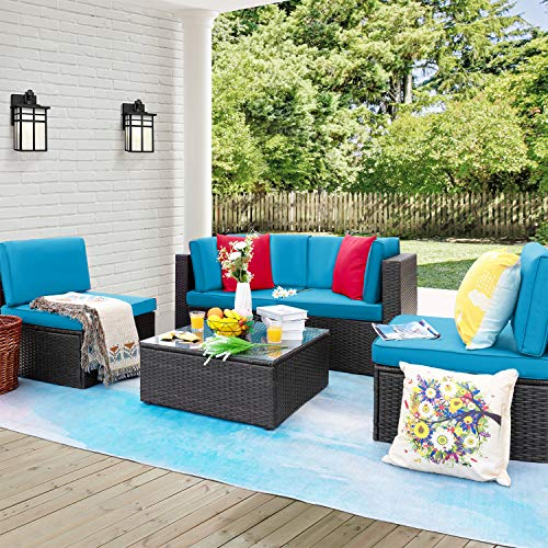 Furniwell 5 Pieces Patio Furniture Sectional Set Outdoor Wicker Rattan Sofa Set Backyard Couch Conversation Sets with Pillow Cushions and Glass Table (Blue)
