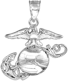 925 Sterling Silver US Marine Corps Small Military Pendant