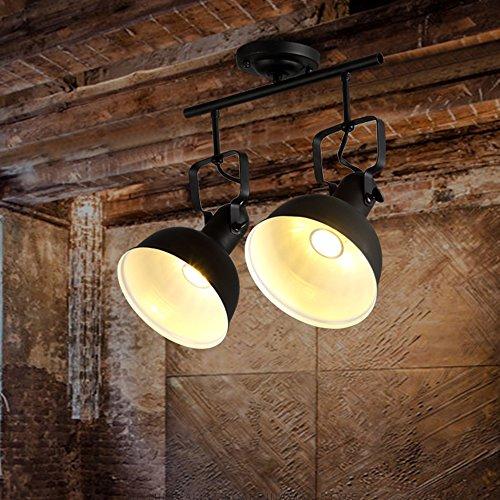 MITOYO Foco De Techo LED Vintage Negro, Diseño Retro E27 Plafón De Metal,Black,proyectores del Techo,Luminaria de proyección de riel de Techo,Doble Llama