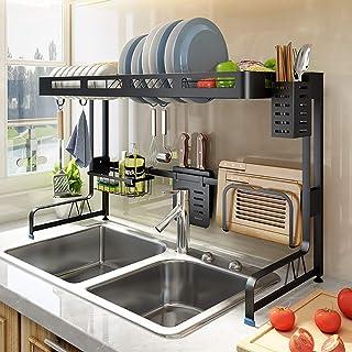 GOHHK Organisateur de Support à Vaisselle sur évier, Support de séchage de Vaisselle de Cuisine avec Porte-Couverts, compt...