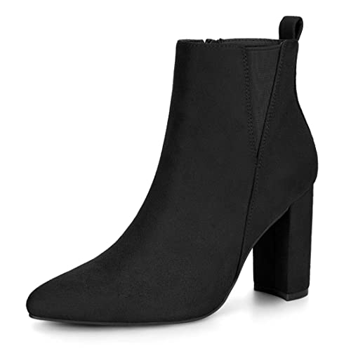 bece352a2da9 Allegra K Women's Pointed Toe Zipper Block Heel Ankle Chelsea Boots