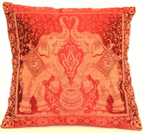 Kashmir Handicrafts Rot Indische Banarasi Seide Deko Kissenbezüge 40 cm x 40 cm, Extravaganten Elefant Design für Sofa & Bett Dekokissen, Kissenhülle aus Indien (Angebot gültig nur für EIN Woche)
